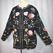 Floral Embroidered Cotton Blend Button Front Cardigan Jacket Boho Artsy 3x 3xw