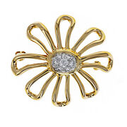 And Co. Paloma Picasso Diamond Daisy Flower Pin, 18k Yellow Gold And Plat