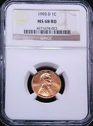 1993-d Lincoln Cent Ngc Ms68 Bright Red Stunning Luster Pq Gorgeous Coin G817