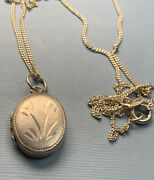 Vintage 925 Silver Oval Locket And 16 Inch Chain Markings For Silver.