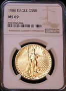 1986 50 Gold 1 Oz. Eagle Ngc Ms69 Recently Graded From Original Roll R14