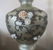 Vintage Carl Falkenstein Table Lamp Green Glass Applied Bronze Leaf And Flowers