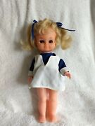 Vntg 1960 Jolly Toys Hard Plastic Jointed Body Curly Short Blond Hair Vgc