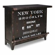 Sunset Trading Graphic 12-bottle Wood Wine Bar With Storage In Distressed Black