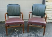 Lot Of 2 W. H. Gunlocke Chairs Mid Century Modern Leather And Wood Office Desk