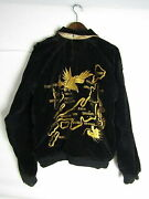 Made In The 50and039s Velveteen Sukajan Quilting Dragon Hawk Japan Map Black Gold
