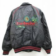 Clothes Longsleeved Leather Jacket 90and039s 90s Budweiser Beer Chameleo