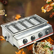 4 Head Lpg Gas Barbecue Grill Oven Natural Gas Commercial Smokeless Bbq Grillnew