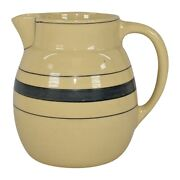 Roseville Pottery Creamware Utility Ware 1920 Gray Banded Pitcher 1309