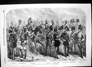 Old Print New Uniforms British Cavalry Lancers Dragoons Life Guards 1856 19th