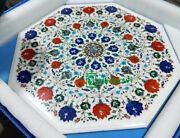 36and039and039 White Marble Table Top Center Coffee Inlay Malachite Flower Home Decor K1