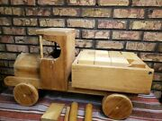 Vintage Amish-made Large Wooden Toy Truck Set W/building Blocks Rare Well Made