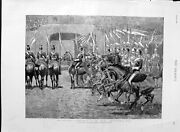 Old Antique Print 1889 Military Horses Agricultural Hall Twelfth Lancers 19th