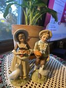 Lefton Trade Mark Exclusives Thanksgiving Figurines Country Boy And Girl Vintage