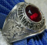 Vintage Menand039s United States Army Garnet 0.925 Sterling Silver Band Ring Size 11