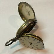 Antique Swiss Pocket Watch - 48mm - Key Wind And Set For Parts Missing Front