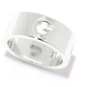 Gg Sterling Silver Trademark Cutout G Band Ring New