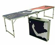 Beer Game Tailgate Folding Expandable Table 8 Ft Length Led - Blue Red Player
