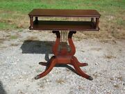 Vintage Federal Greek Lyre Harp Base Solid Mahogany End Table Small Coffee Table
