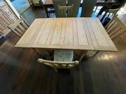 Antique 19th Century Irish Pine Farm Dining Table With 4 Chairs 19th Century