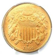 1866 Two Cent Coin 2c - Certified Pcgs Ms65+ Rd Plus Grade Red - 3000 Value