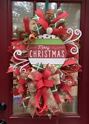 Front Door Swag Wreath Merry Christmas Deco Mesh Gingerbread And Candy Canes