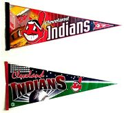 2 Mlb Cleveland Indians Pennants By Tag Express/trench And Wincraft 1996/ 1998