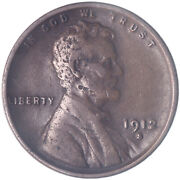 1912 S Lincoln Wheat Cent Very Fine Penny Vf See Pics K948