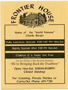 Frontier House Menu West Knoxville Tennessee Home Of World Famous Charlie Burger