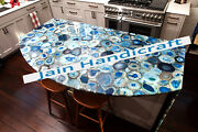 3and039x2and039 Blue Agate Marble Table Top Coffee Center Inlay Room Home Decor Antique