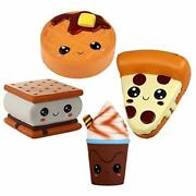 Anboor 4 Pcs Squishies Smore Waffle Cake Pizza Coffee Cup Kawaii Scented Soft