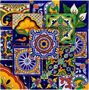 Genuine Mexican Talavera Tiles 4x4 Hand Painted, 50 Tiles Assorted Designs