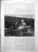 Antique Old Print Man Grasp Lady's Hand Boat Springbok Hunting S Africa 1893