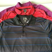 Lot Of 3 Size Large Greg Norman Play Dry Golf Shirts Polos Purple Red Black Used