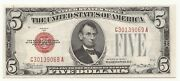 1928-c 5 Dollar Bill United States Note Red Seal Nice Cond. Free S/h 069a-act