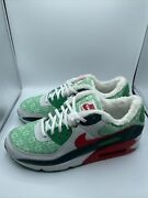 New Nike Air Max 90 Christmas Ugly Sweater White Red Dc1607-100 Mens Size 9