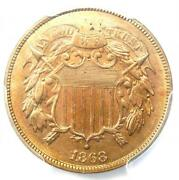 1868 Two Cent Coin 2c - Certified Pcgs Ms65 Rd Gem Bu Red - 3500 Value