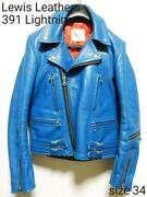Lewis Leathers 391 Lightning Cowhide Blue Size 34 F/s From Japan