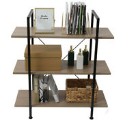 Book Shelves 3-tier Industrial Bookcase,vintage Wood And Metal Bookshelves,gray