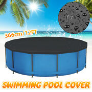 12ft Above Ground Swimming Pool Cover For Winter Round Safety Black Dust Cover