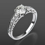 Ornamented Solitaire Accented Diamond Ring Real 14k White Gold 1.16 Carats