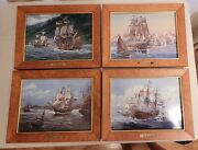 4 Franklin Mint Porcelain Hand Painted Tiles By Artist Thomas Wesley Freeman