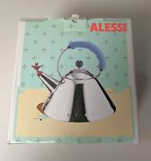 Alessi Tea Kettle By Michael Graves New In Box, Blue Handle Red Bird Whistle