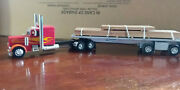 Modified 1/32 Scale Peterbilt Semi Truck Flatbed Trailer And Lumber Load.