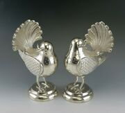 Pair Of Mexican Or Peruvian Whimsical Birds With Fan Tails 900 Purity Silver