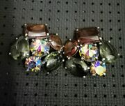 Vintage Signed Schiaparelli Clip Earrings Root Beer Amethyst Stain Glass 50s