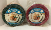 Vintage Rattan/wicker Colored Paper Plate Holders-hong Kong-2 Sets Of 4