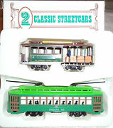 2 Classic Streetcars Ho Powell And Mason Cable Car And Desire St Trolley By Bachmann