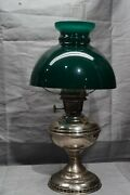 Antique Aladdin Model No.6 Tabletop Oil Lamp With Chimney And Green Shade