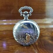 Vintage Milan Gold And Silver 3d Embossed Bird Dog Pocket Watch Easy To Read